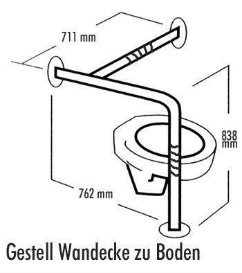 Edelstahl-Halte-Stützgriff 7920 Gestell Wandecke zu Boden