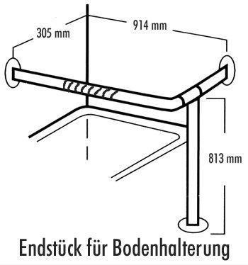 Edelstahl-RAL-Halte-Stützgriff 7960 Endstück mit Bodenhalterung