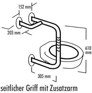 Edelstahl-Halte-Stützgriff 7200 seitlicher Griff mit Zusatzarm