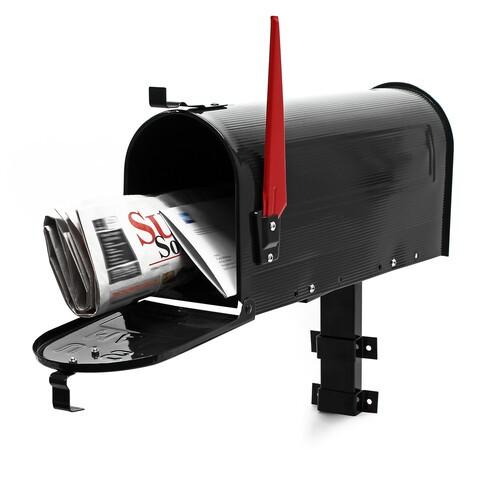 Briefkasten US Schwarz mit Mauerhalterung / Wandhalterung