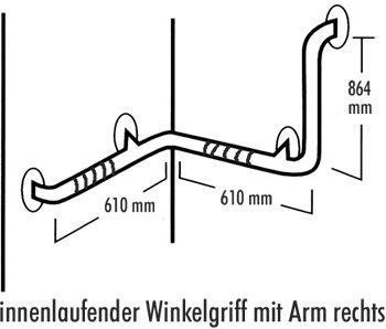 Edelstahl-RAL-Halte-Stützgriff 7300 Innenwinkel mit Arm rechts