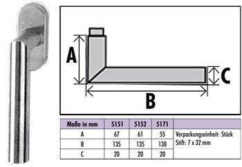 Edelstahl-Fenstergriff Serie 5171 mit Rasterrosette