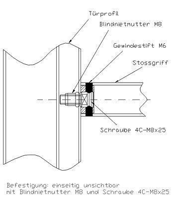 Befestigung einseitig unsichtbar mit Blindnietmutter und Schraube 4C-M8x25